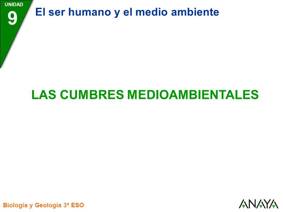 UNIDAD Biología y Geología 3º ESO LAS CUMBRES MEDIOAMBIENTALES 9 El ser humano y el medio ambiente