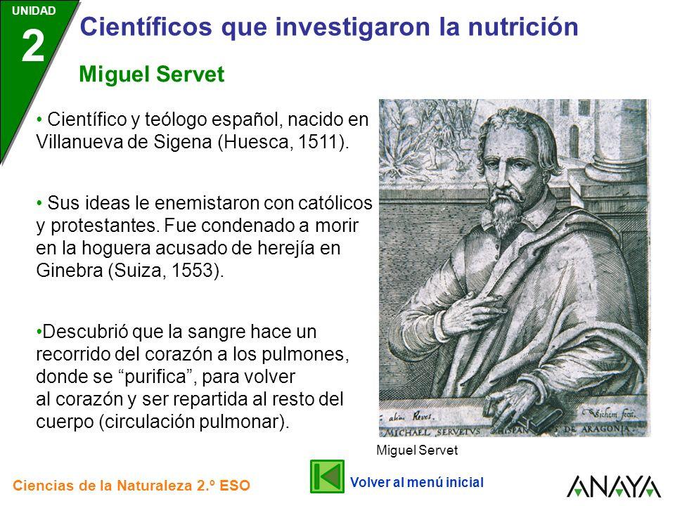UNIDAD 2 Científicos que investigaron la nutrición Ciencias de la Naturaleza 2.º ESO Describió numerosos tejidos, entre ellos los de los órganos excretores de los insectos, en cuyo honor, fueron denominados túbulos de Malpighi.