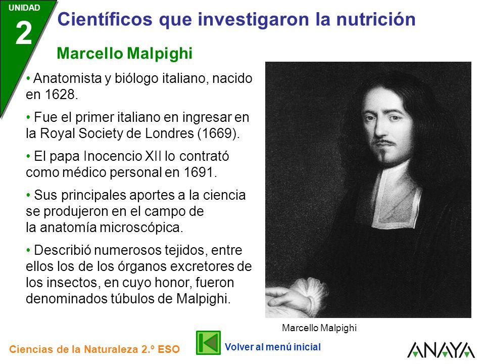 UNIDAD 2 Científicos que investigaron la nutrición Ciencias de la Naturaleza 2.º ESO Describió numerosos tejidos, entre ellos los de los órganos excre