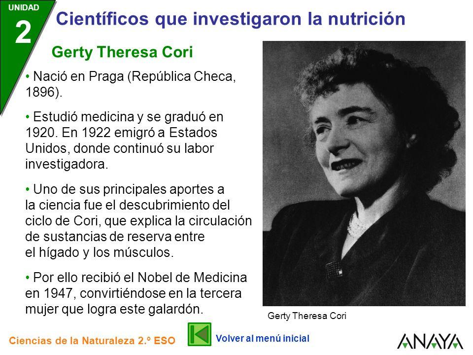 UNIDAD 2 Científicos que investigaron la nutrición Ciencias de la Naturaleza 2.º ESO Por ello recibió el Nobel de Medicina en 1947, convirtiéndose en