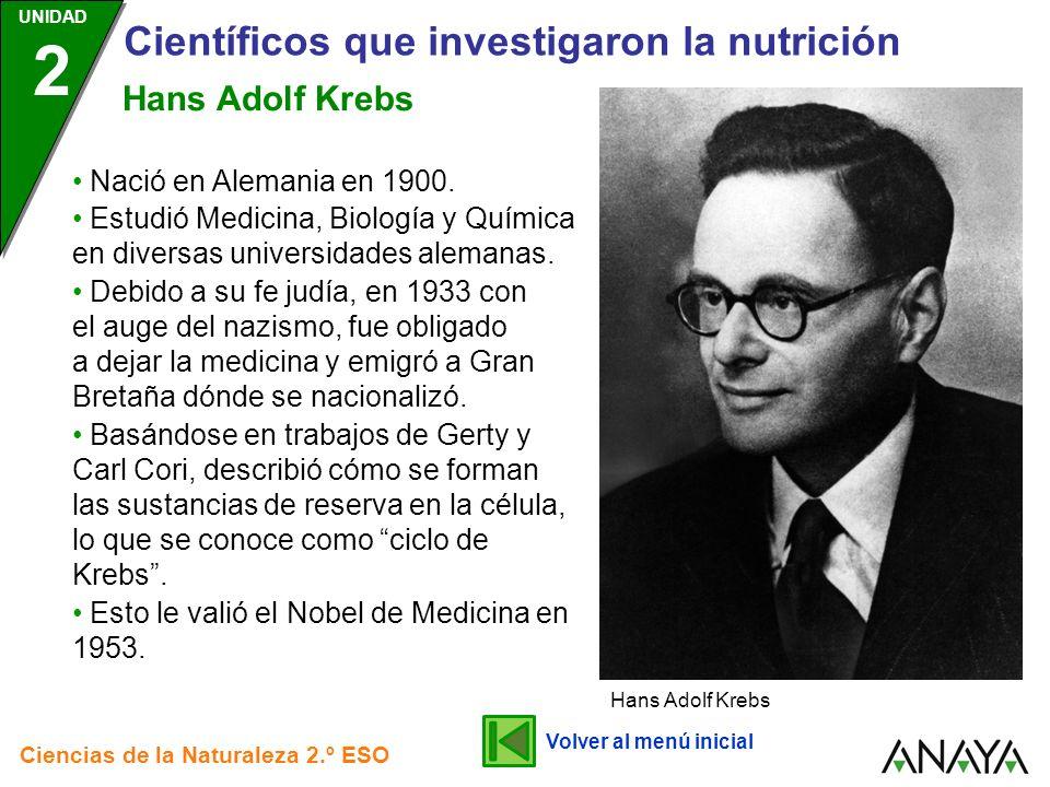 UNIDAD 2 Científicos que investigaron la nutrición Ciencias de la Naturaleza 2.º ESO Esto le valió el Nobel de Medicina en 1953. Hans Adolf Krebs Volv