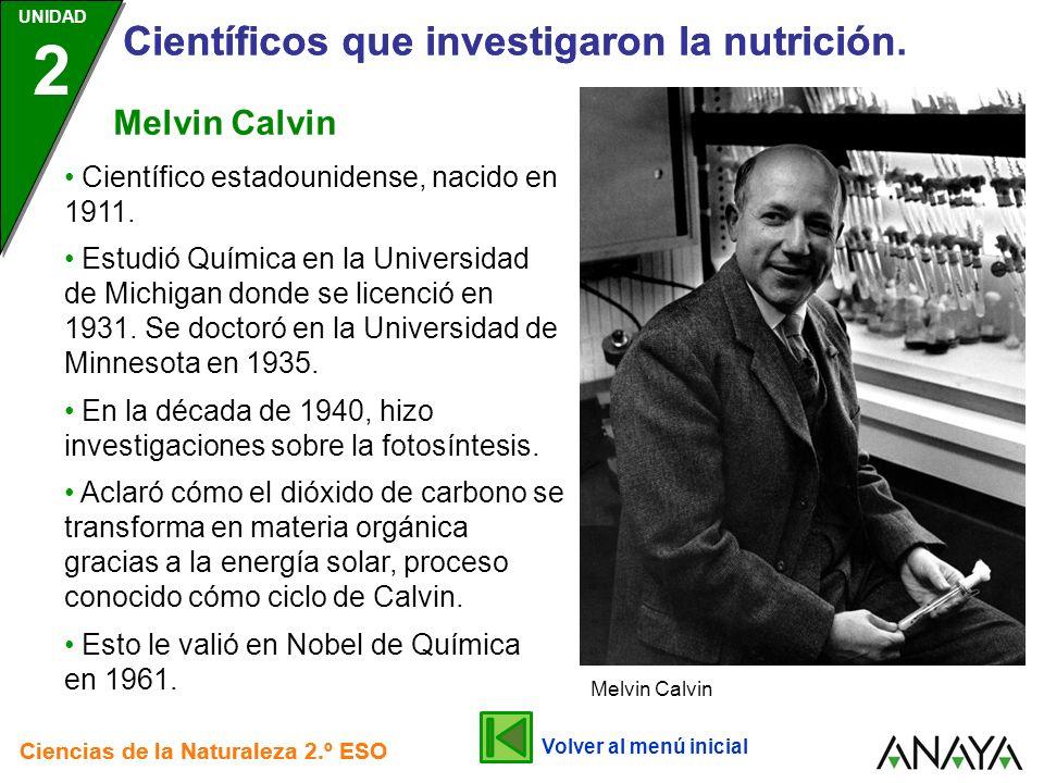 UNIDAD 2 Científicos que investigaron la nutrición. Ciencias de la Naturaleza 2.º ESO UNIDAD 2 Científicos que investigaron la nutrición Ciencias de l