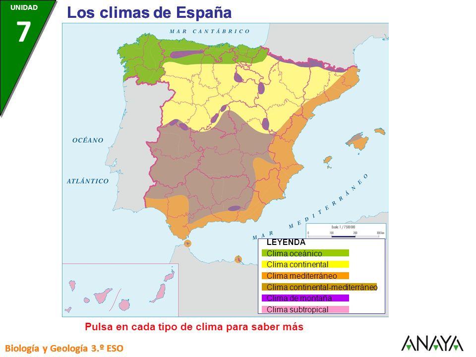 LEYENDA Clima oceánico Clima continental Clima mediterráneo Clima continental-mediterráneo Clima de montaña Clima subtropical Biología y Geología 3.º