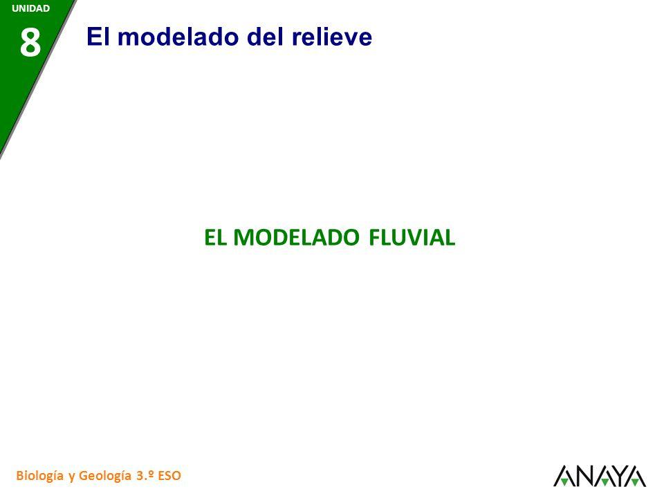 Biología y Geología 3.º ESO EL MODELADO FLUVIAL El modelado del relieve UNIDAD 8