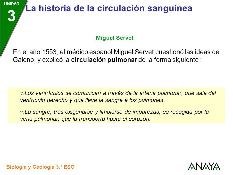 UNIDAD 3 Biología y Geología 3.º ESO UNIDAD 3 La historia de la circulación sanguínea En el año 1553, el médico español Miguel Servet cuestionó las id