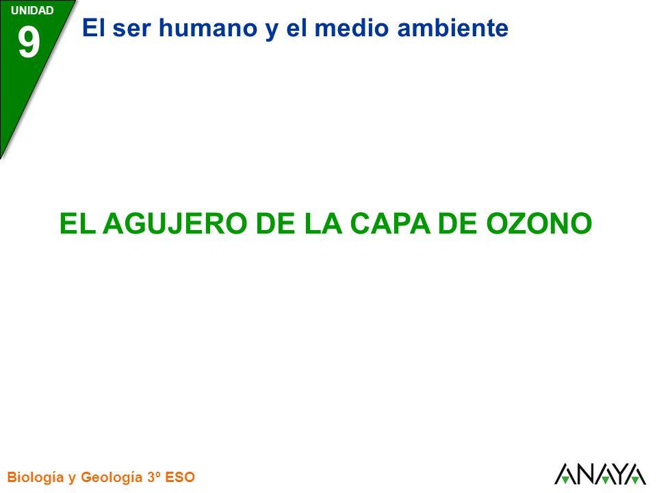 UNIDAD Biología y Geología 3º ESO EL AGUJERO DE LA CAPA DE OZONO 9 El ser humano y el medio ambiente