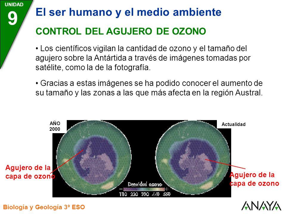 UNIDAD Biología y Geología 3º ESO 9 El ser humano y el medio ambiente CONTROL DEL AGUJERO DE OZONO Los científicos vigilan la cantidad de ozono y el t