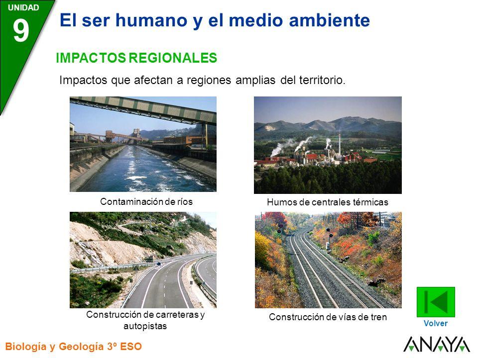 UNIDAD Biología y Geología 3º ESO 9 El ser humano y el medio ambiente IMPACTOS REGIONALES Volver Impactos que afectan a regiones amplias del territorio.