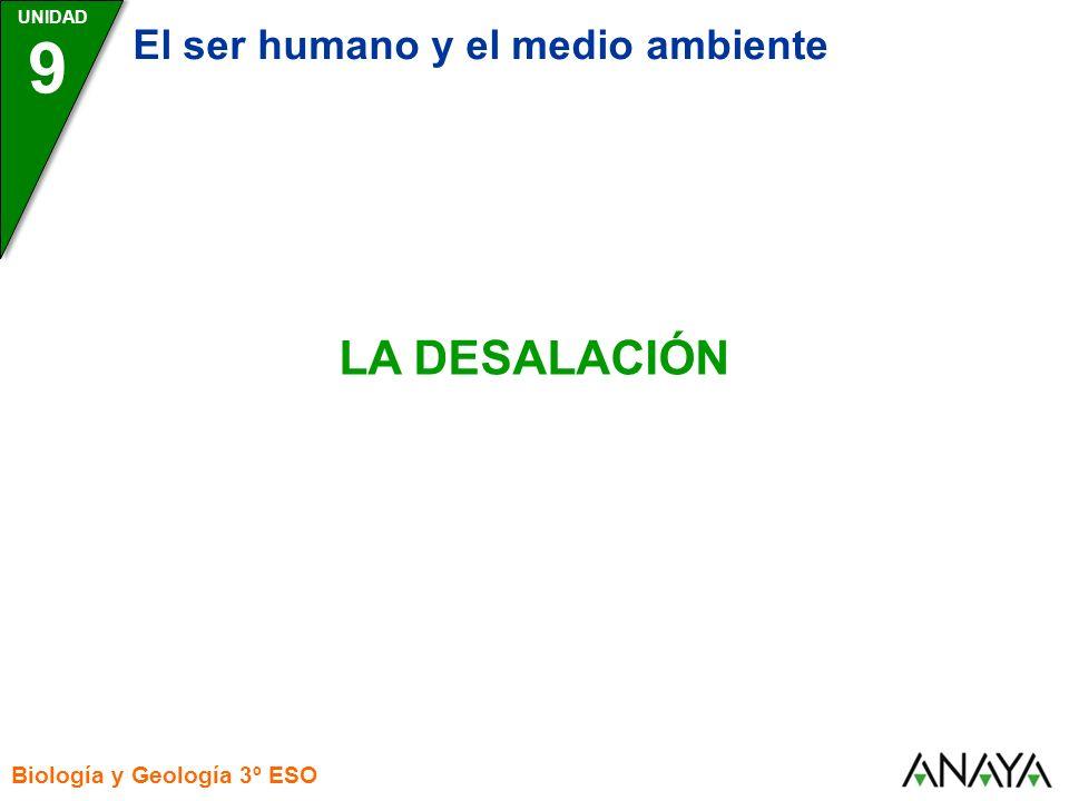 UNIDAD Biología y Geología 3º ESO LA DESALACIÓN 9 El ser humano y el medio ambiente