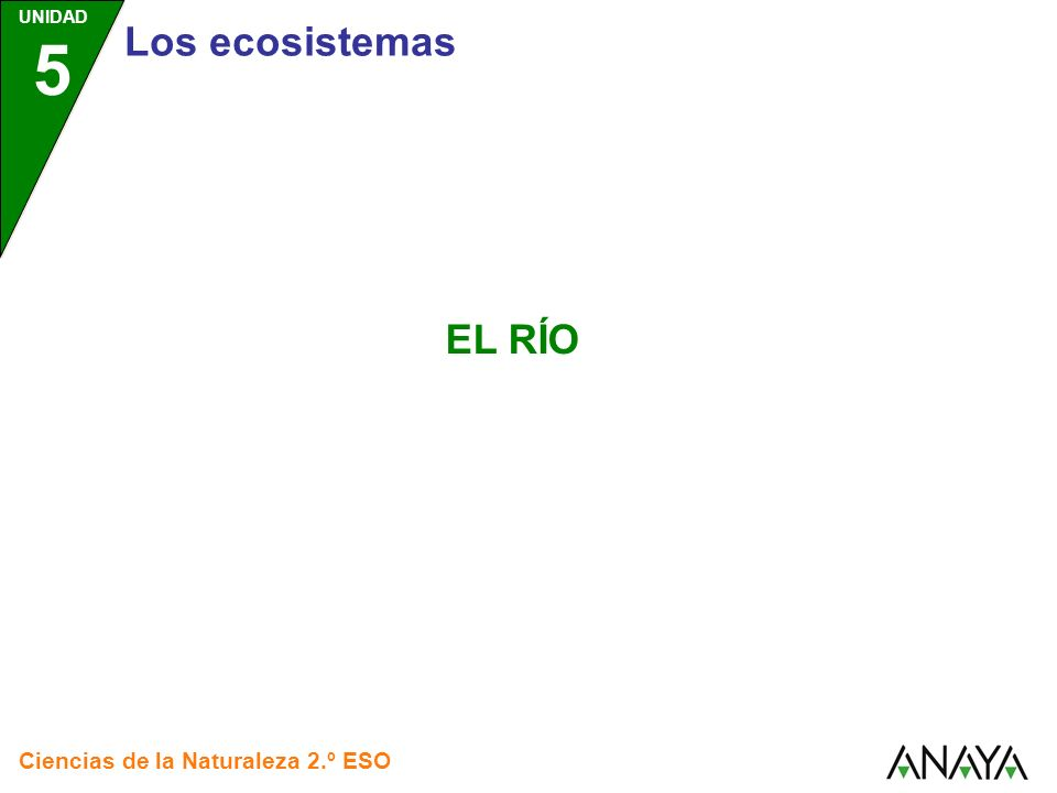 UNIDAD 5 Ciencias de la Naturaleza 2.º ESO El río El río es un ecosistema caracterizado por el movimiento de sus aguas.