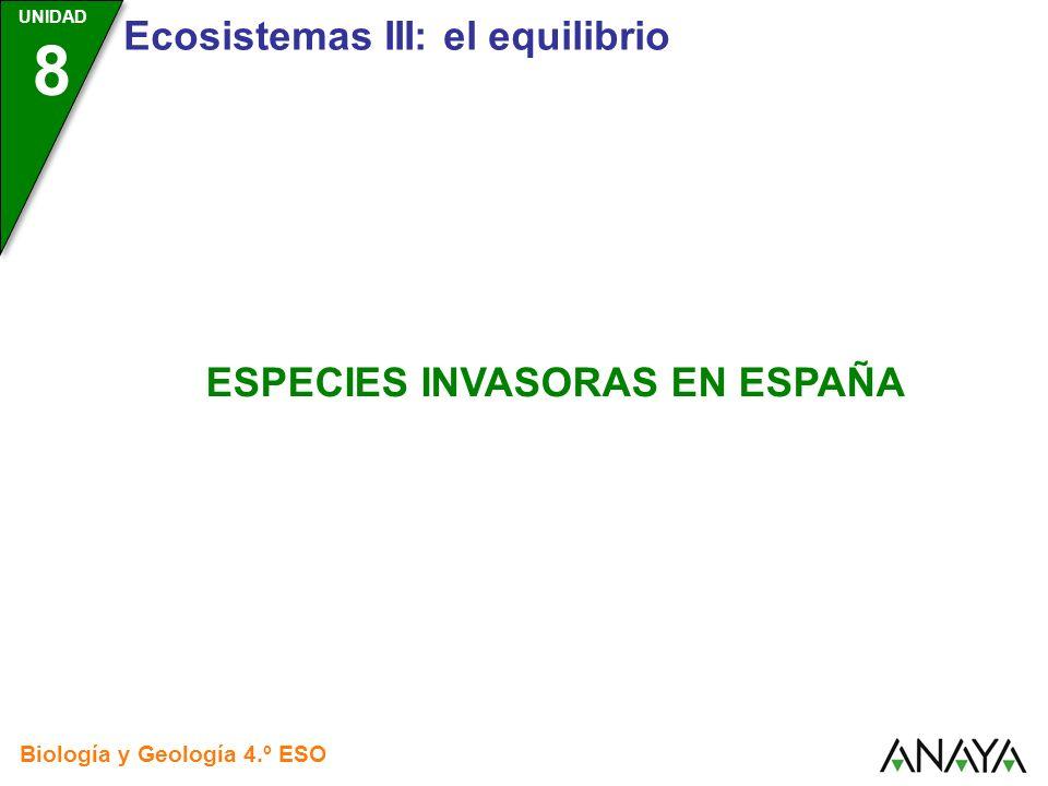 UNIDAD 3 Biología y Geología 4.º ESO UNIDAD 8 Especies invasoras en España La introducción de especies foráneas puede ser una causa de la extinción de especies autóctonas y de la destrucción de nuestros ecosistemas.