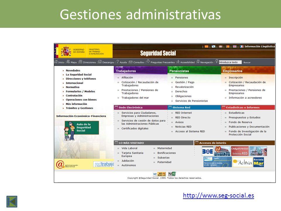 Gestiones administrativas http://www.seg-social.es