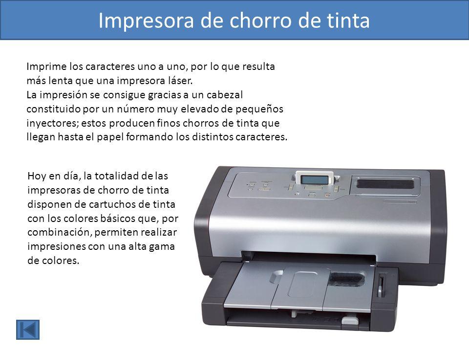 Imprime líneas completas de caracteres a la vez, y suele tener una alta velocidad de impresión que se mide en páginas por minuto (ppm).