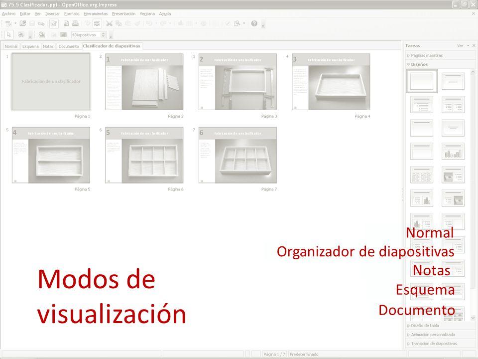 Modos de visualización Normal Organizador de diapositivas Notas Esquema Documento