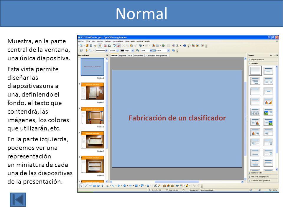 Muestra, en la parte central de la ventana, una única diapositiva. Esta vista permite diseñar las diapositivas una a una, definiendo el fondo, el text