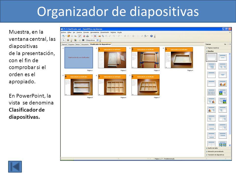 Muestra, en la ventana central, las diapositivas de la presentación, con el fin de comprobar si el orden es el apropiado. En PowerPoint, la vista se d