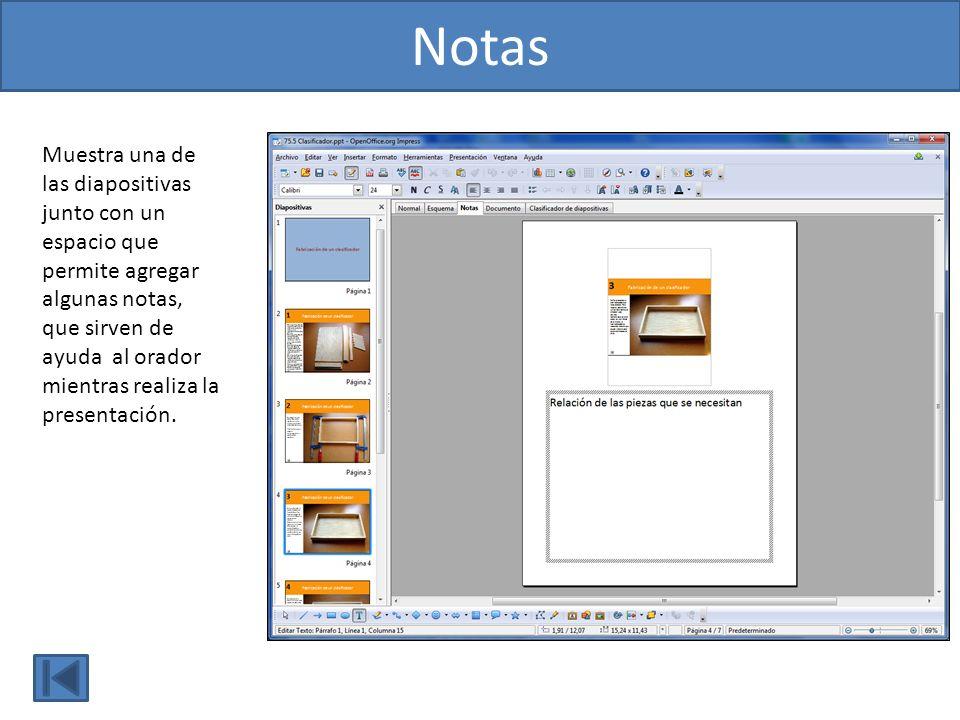 Muestra una de las diapositivas junto con un espacio que permite agregar algunas notas, que sirven de ayuda al orador mientras realiza la presentación