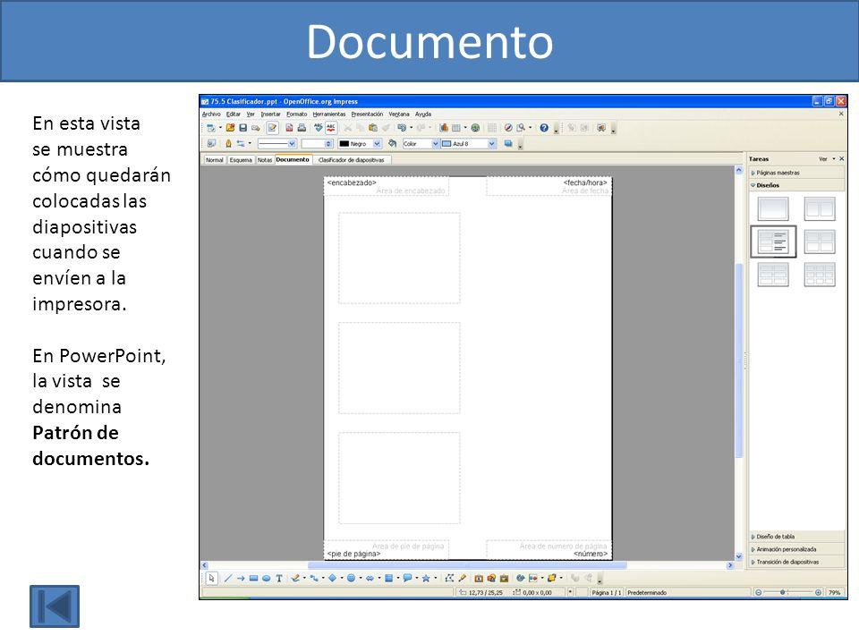 En esta vista se muestra cómo quedarán colocadas las diapositivas cuando se envíen a la impresora. En PowerPoint, la vista se denomina Patrón de docum