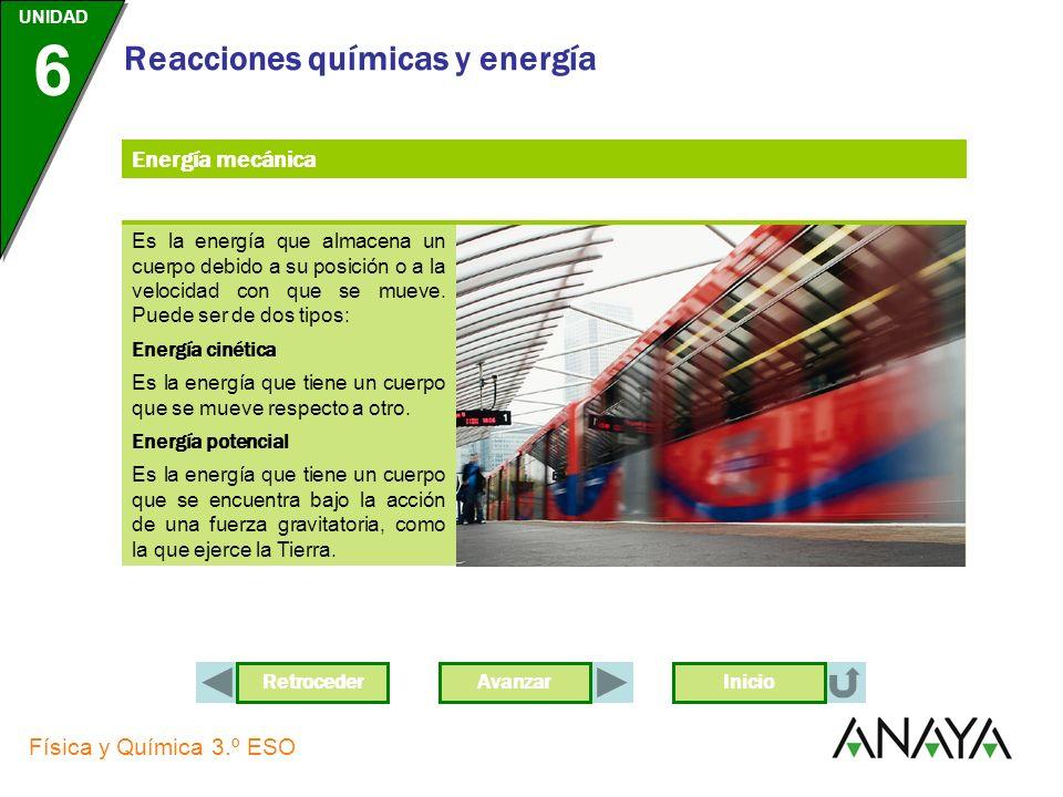 AvanzarRetroceder UNIDAD 6 Física y Química 3.º ESO Reacciones químicas y energía Inicio Energía mecánica Es la energía que almacena un cuerpo debido a su posición o a la velocidad con que se mueve.