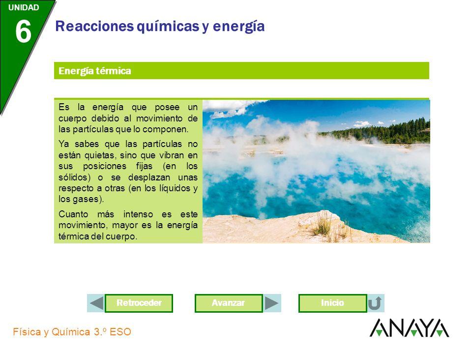 AvanzarRetroceder UNIDAD 6 Física y Química 3.º ESO Reacciones químicas y energía Inicio Energía térmica Es la energía que posee un cuerpo debido al movimiento de las partículas que lo componen.