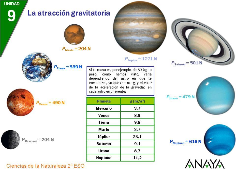 UNIDAD 9 Ciencias de la Naturaleza 2º ESO La atracción gravitatoria LENGUAJE COTIDIANO se confunden en el pero son La masa, m, y el peso, P MAGNITUDES