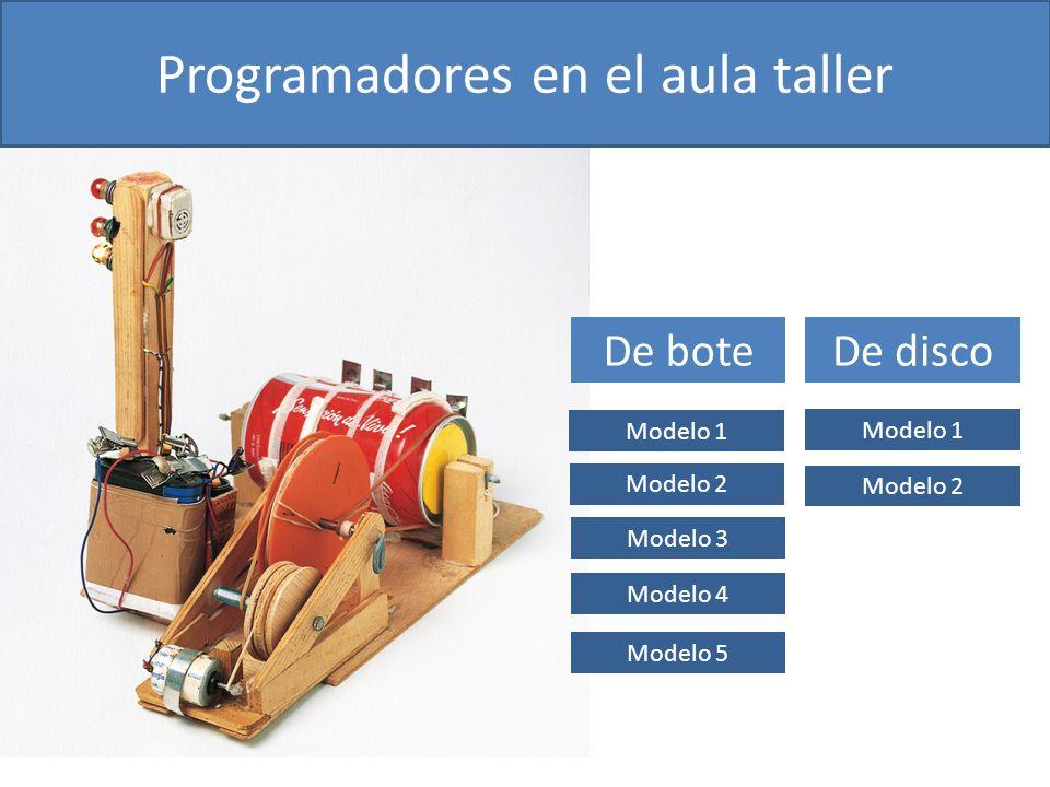 De bote Modelo 1 Modelo 2 Modelo 3 Modelo 4 Modelo 5 De disco Modelo 2 Modelo 1 Programadores en el aula taller