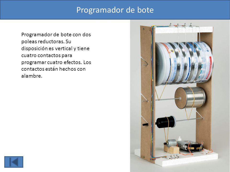 Programador de bote Programador de bote con dos poleas reductoras. Su disposición es vertical y tiene cuatro contactos para programar cuatro efectos.