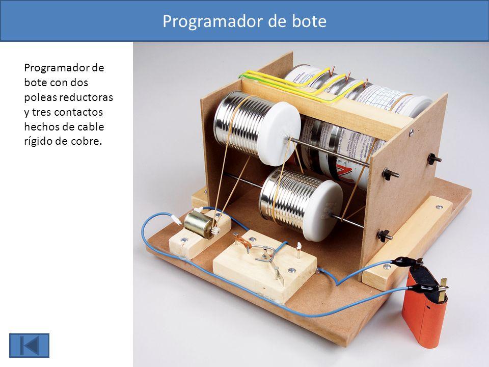 Programador de bote Programador de bote con dos poleas reductoras y tres contactos hechos de cable rígido de cobre.