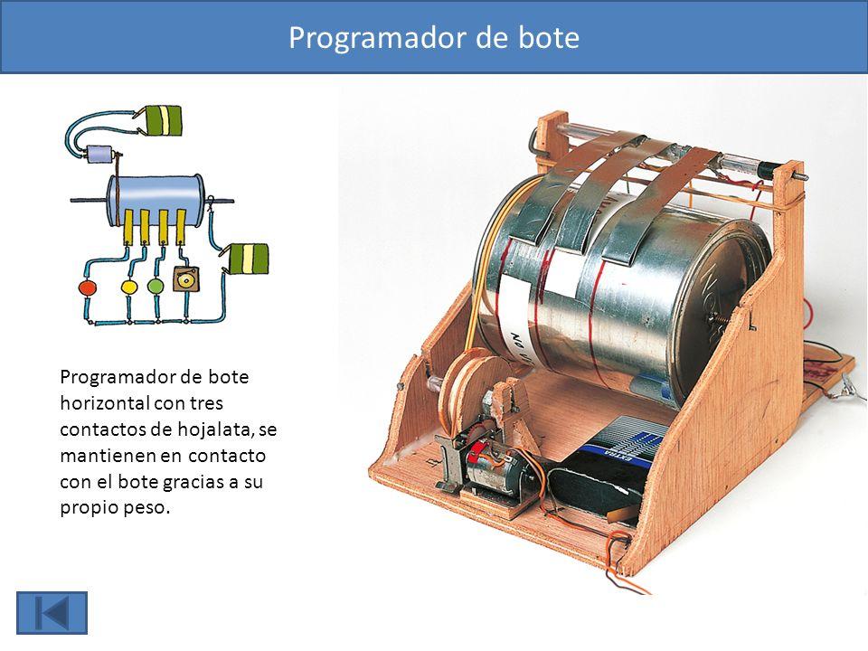 Programador de bote Programador de bote horizontal con tres contactos de hojalata, se mantienen en contacto con el bote gracias a su propio peso.
