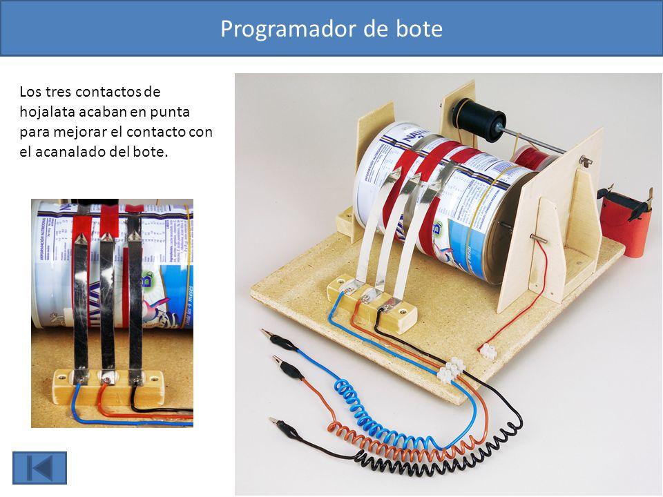Programador de bote Los tres contactos de hojalata acaban en punta para mejorar el contacto con el acanalado del bote.