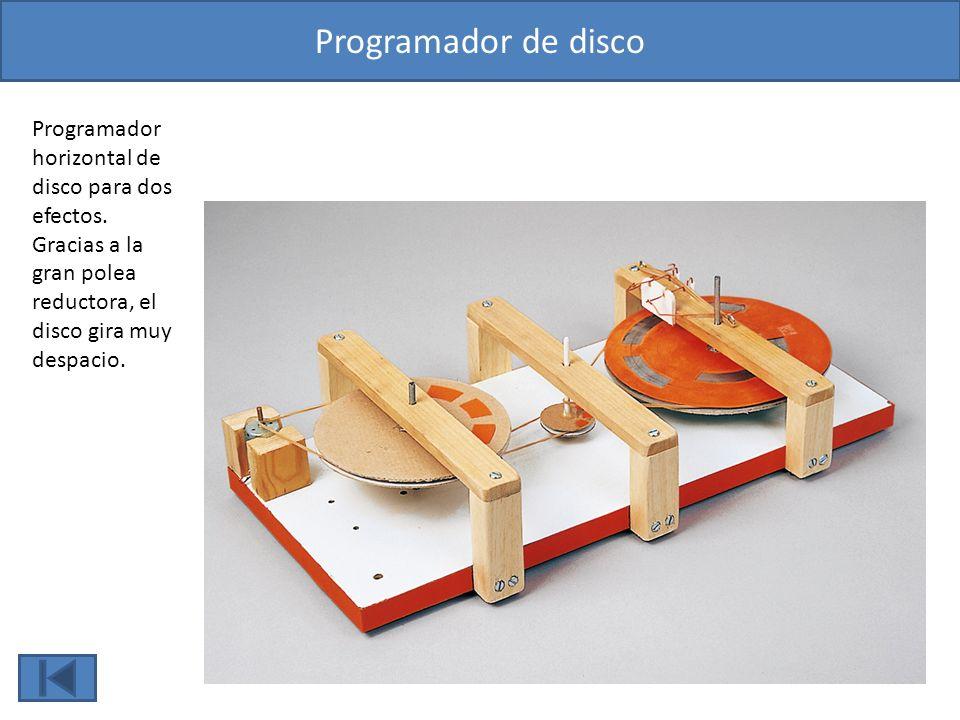 Programador de disco Programador horizontal de disco para dos efectos. Gracias a la gran polea reductora, el disco gira muy despacio.
