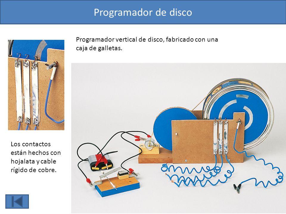 Programador de disco Los contactos están hechos con hojalata y cable rígido de cobre. Programador vertical de disco, fabricado con una caja de galleta