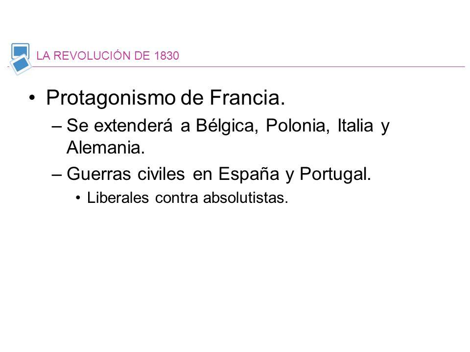 Protagonismo de Francia. –Se extenderá a Bélgica, Polonia, Italia y Alemania. –Guerras civiles en España y Portugal. Liberales contra absolutistas. LA