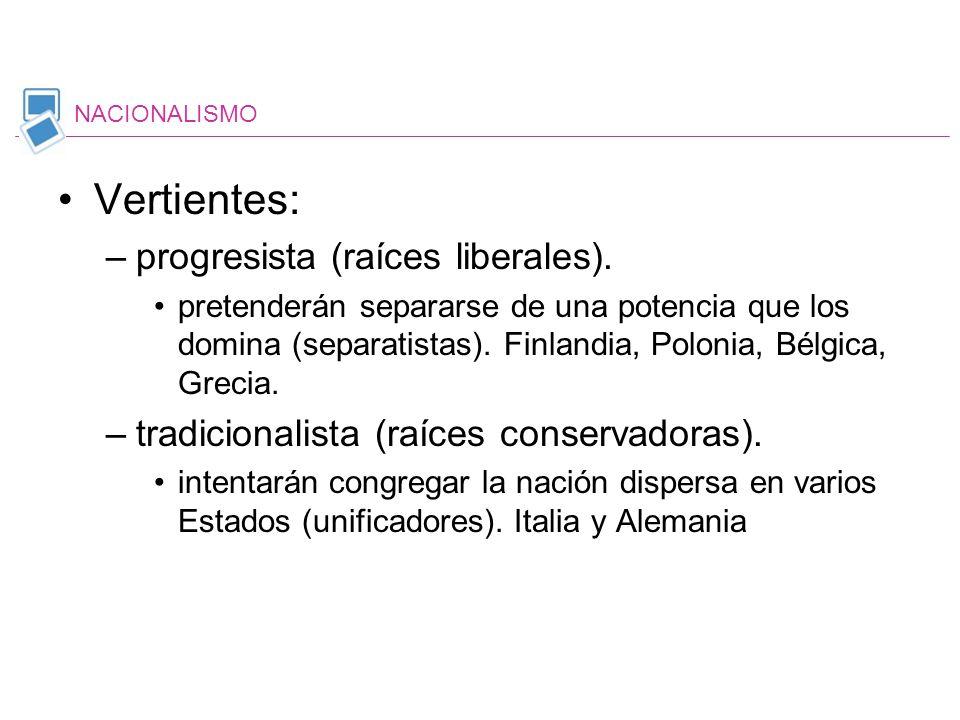 Vertientes: –progresista (raíces liberales). pretenderán separarse de una potencia que los domina (separatistas). Finlandia, Polonia, Bélgica, Grecia.