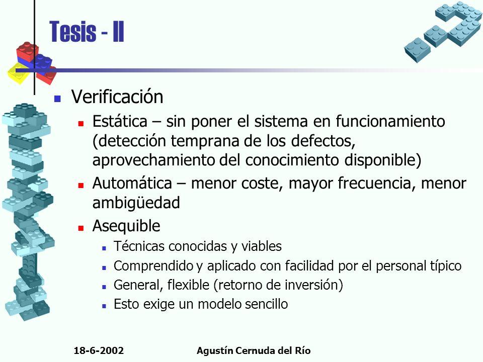18-6-2002Agustín Cernuda del Río Tesis - II Verificación Estática – sin poner el sistema en funcionamiento (detección temprana de los defectos, aprove