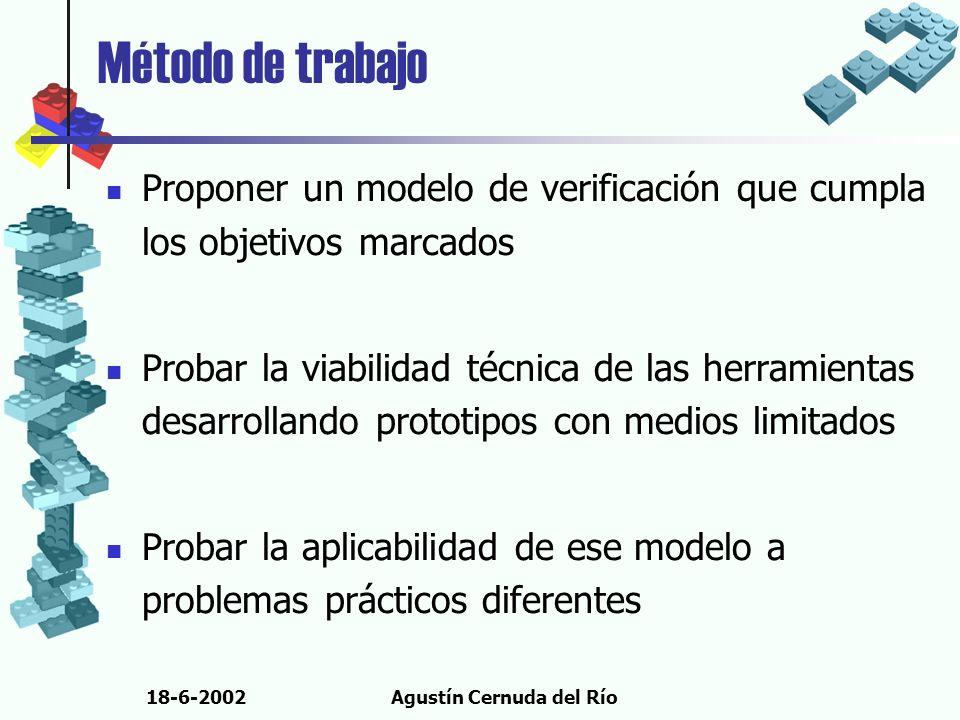 18-6-2002Agustín Cernuda del Río Método de trabajo Proponer un modelo de verificación que cumpla los objetivos marcados Probar la viabilidad técnica d