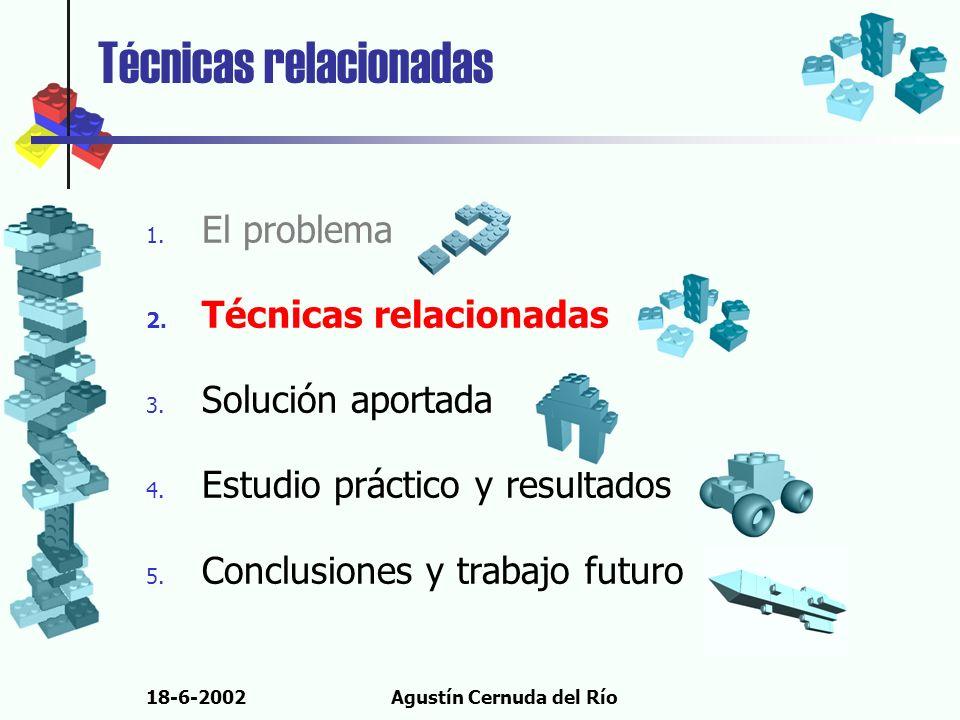 18-6-2002Agustín Cernuda del Río Técnicas relacionadas 1. El problema 2. Técnicas relacionadas 3. Solución aportada 4. Estudio práctico y resultados 5