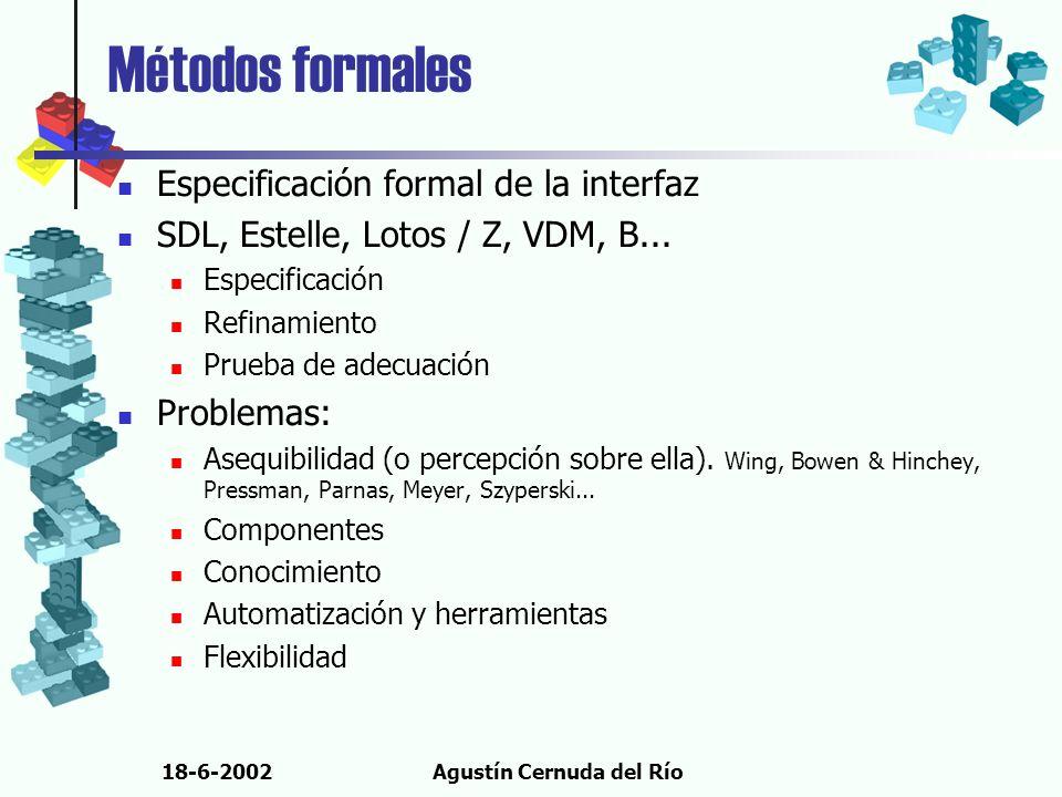 18-6-2002Agustín Cernuda del Río Métodos formales Especificación formal de la interfaz SDL, Estelle, Lotos / Z, VDM, B... Especificación Refinamiento