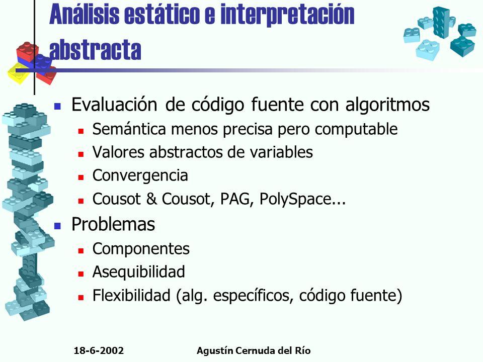 18-6-2002Agustín Cernuda del Río Análisis estático e interpretación abstracta Evaluación de código fuente con algoritmos Semántica menos precisa pero