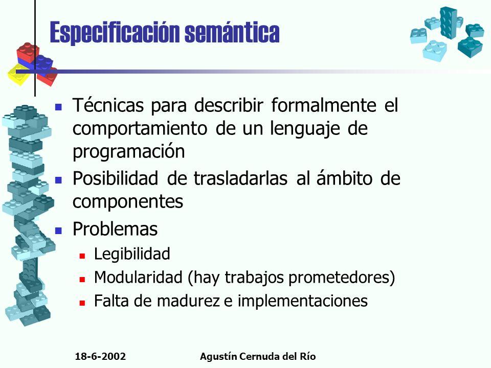 18-6-2002Agustín Cernuda del Río Especificación semántica Técnicas para describir formalmente el comportamiento de un lenguaje de programación Posibil