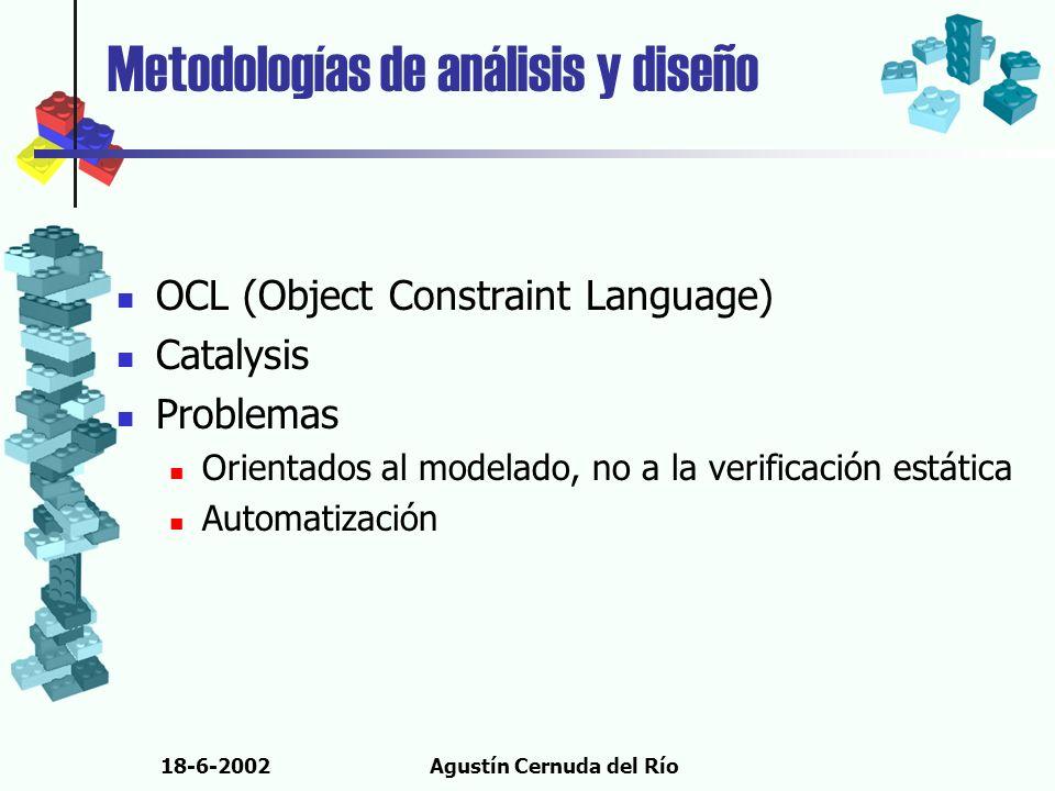 18-6-2002Agustín Cernuda del Río Metodologías de análisis y diseño OCL (Object Constraint Language) Catalysis Problemas Orientados al modelado, no a l