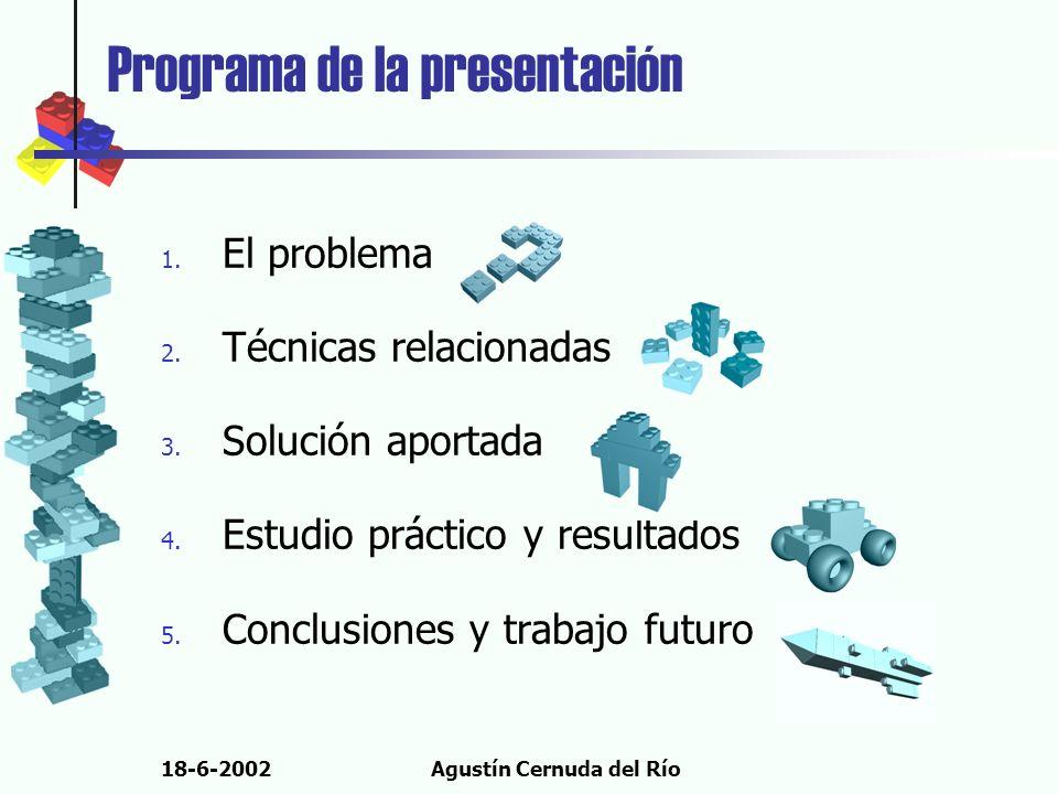 18-6-2002Agustín Cernuda del Río Programa de la presentación 1. El problema 2. Técnicas relacionadas 3. Solución aportada 4. Estudio práctico y result