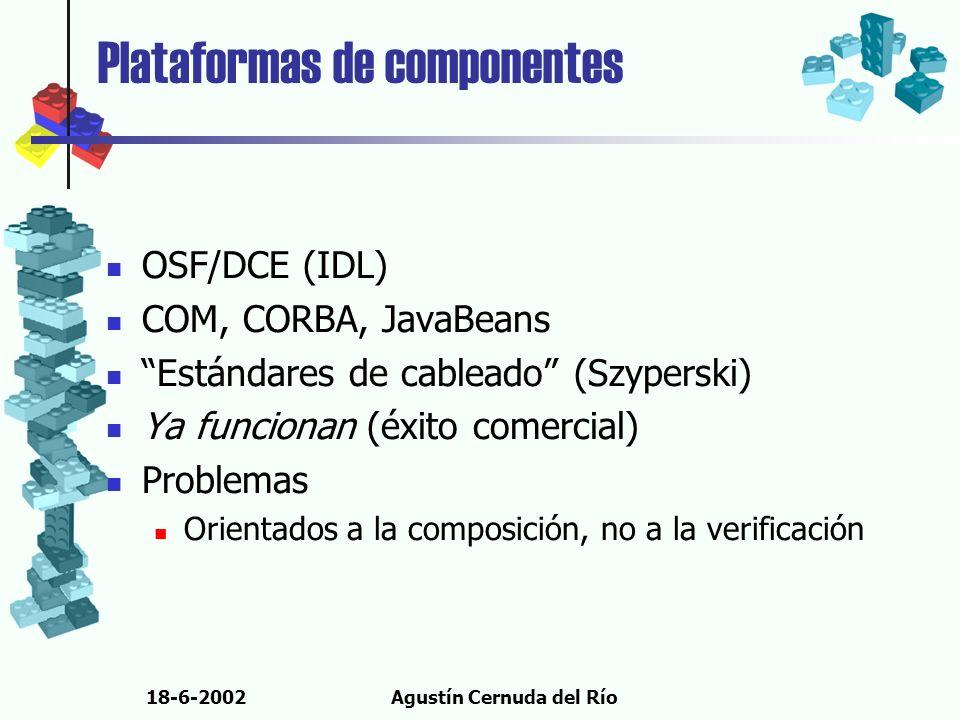 18-6-2002Agustín Cernuda del Río Plataformas de componentes OSF/DCE (IDL) COM, CORBA, JavaBeans Estándares de cableado (Szyperski) Ya funcionan (éxito