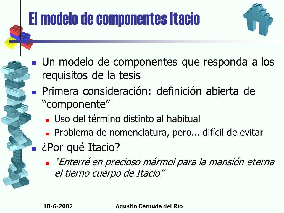 18-6-2002Agustín Cernuda del Río El modelo de componentes Itacio Un modelo de componentes que responda a los requisitos de la tesis Primera considerac