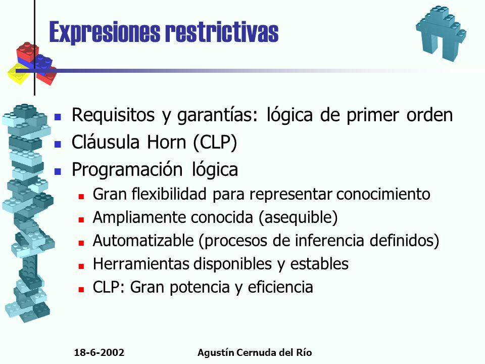 18-6-2002Agustín Cernuda del Río Expresiones restrictivas Requisitos y garantías: lógica de primer orden Cláusula Horn (CLP) Programación lógica Gran