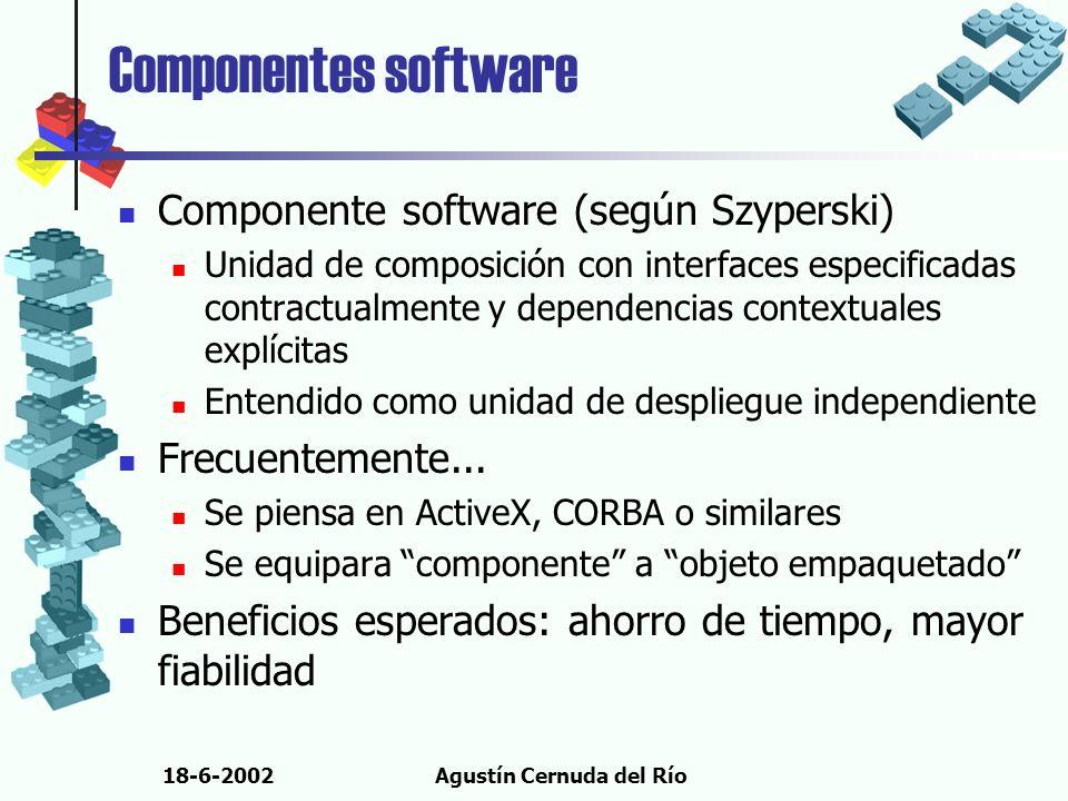 18-6-2002Agustín Cernuda del Río Componentes software Componente software (según Szyperski) Unidad de composición con interfaces especificadas contrac