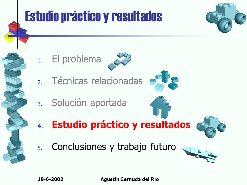 18-6-2002Agustín Cernuda del Río Estudio práctico y resultados 1. El problema 2. Técnicas relacionadas 3. Solución aportada 4. Estudio práctico y resu