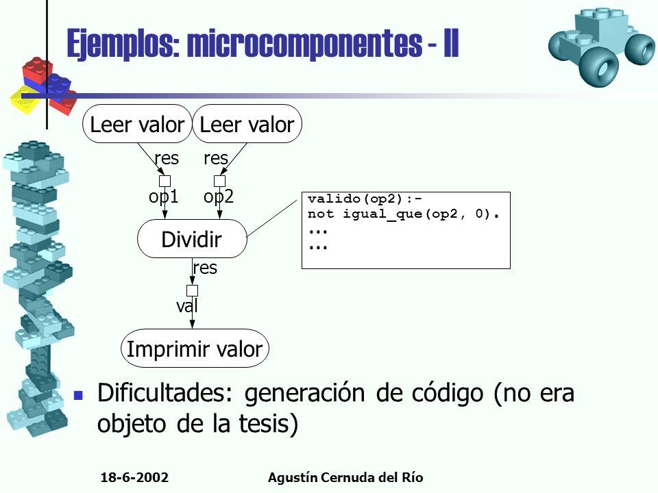18-6-2002Agustín Cernuda del Río Ejemplos: microcomponentes - II Dificultades: generación de código (no era objeto de la tesis) Dividir op1op2 Leer va