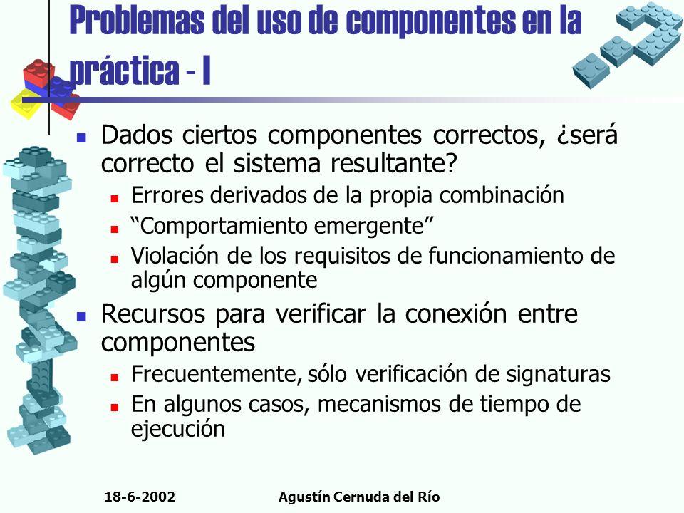 18-6-2002Agustín Cernuda del Río Problemas del uso de componentes en la práctica - I Dados ciertos componentes correctos, ¿será correcto el sistema re
