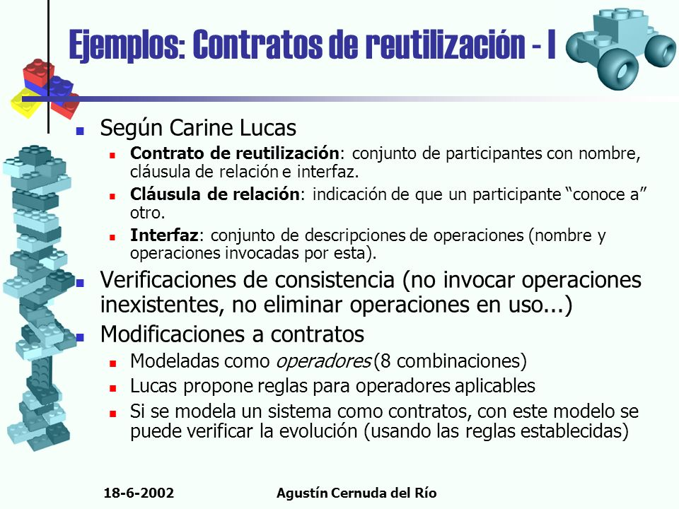 18-6-2002Agustín Cernuda del Río Según Carine Lucas Contrato de reutilización: conjunto de participantes con nombre, cláusula de relación e interfaz.